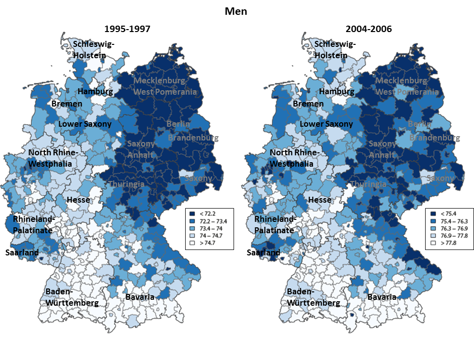 Changing Patterns Regional Mortality Differences And The East West Divide In Germany Demotrends