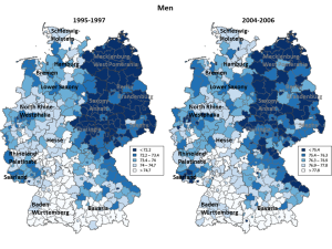Figure 1. Life expectancy at birth in the German districts, men. Note: Life expectancy in the districts is divided into 5 classes according to life expectancy quintiles in the districts. Names refer to the German federal states. Source: Kibele (2012)