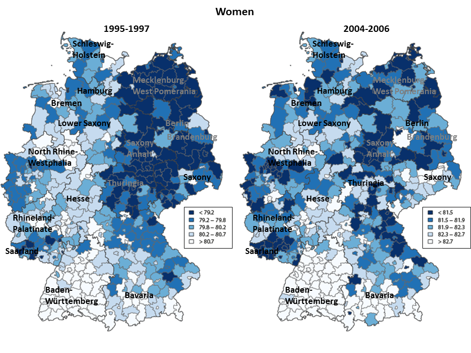 Changing Patterns Regional Mortality Differences And The East - Germany nuts 3 map