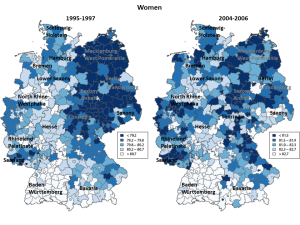 Figure 2. Life expectancy at birth in the German districts, women. Note: Life expectancy in the districts is divided into 5 classes according to life expectancy quintiles in the districts. Names refer to the German federal states. Source: Kibele (2012)