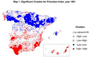 Map 1. Significant clustrs for Princeton index, 1981