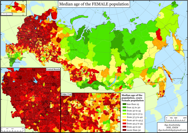 Figure 2b. Median age of FEMALE population, Russia, municipalities, 2010. Source: Russian Census 2010.
